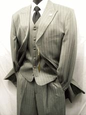 Stacy Adams Grey Pinstripe Moon Vested Zoot Suit