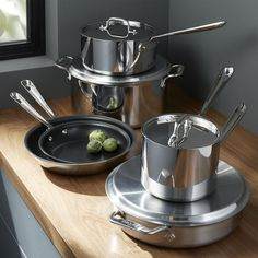 All-Clad ® Stainless Steel Non-Stick 10-Piece Cookware Set with Bonus - Crate and Barrel