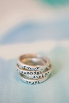 Sterling silver rings. Keepsake jewelry for moms: Lisa Leonard custom stacking rings are so affordable!