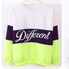D I F F E R E N T NEON SWEATERNWT D I F F E R E N T NEON SWEATERNWTBRAND NEW, SIZE SMALL. NEON GREEN/ BLACK & WHITE PRINTSUPER SOFT & COZY PULLOVER SWEATSHIRT/SWEATER SO YOU CAN BE DIFFERENT❤️ Urban Outfitters Sweaters