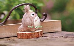 Cute Grey Totoro Doll with Green Leaf Felt Wool by TimesGarden