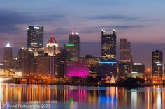 Pittsburgh, PA skyline during the Christmas holiday