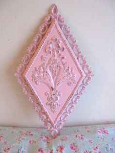 Shabby Pink Roses Wall Plaque Chic Carved Bows Flourishes Vintage 1971 Homco/Syroco Very Ornate Distressed Paris Cottage Romantic Victorian by VintageChicPleasures on Etsy
