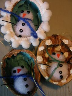 a snowman in a walnut christmas decoration by kathaurielle, via Flickr