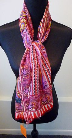 Etro NWT 100% Silk Chiffon Etro Colorful Red Pink Print Oblong Scarf Retail $245 #Etro #Scarf #Any