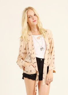 """Open draped jacket with feather print and gold buttons. 100% Polyester.     Length: 24"""""""