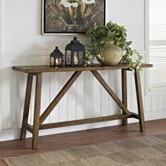 Get inspired by Rustic Living Room Design photo by Wayfair. Wayfair lets you find the designer products in the photo and get ideas from thousands of other Rustic Living Room Design photos. Altra Furniture, Decor, Rustic Consoles, Furniture, Rustic Furniture, Sofa End Tables, Rustic Console Tables, Cottage Table, Rustic Room