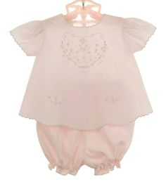 NEW Garden of Angels Pink Diaper Set with Pastel Flower Embroidery $45.00
