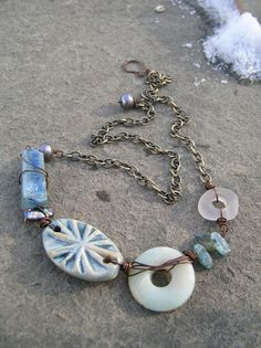 Chillin BLue Eclectic Necklace by stacilouise on Etsy, genuine sea glass and one of a kind artisan clay bead