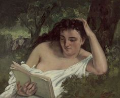 """1866 - """"A Young Woman Reading"""" by Gustave Courbet (France, 1819-1877)"""