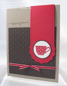 """Stamps: Tiny Teacup, Short & Sweet  Paper: Crumb Cake, Early Espresso, Real Red, Whisper White  Ink: Real Red, Early Espresso  Accessories: Big Shot, Two Tags die, Perfect Polka Dots embossing folder, Real Red narrow taffeta ribbon, 1 1/4"""" circle punch, 1 3/8"""" circle punch, Magnet Sheets"""
