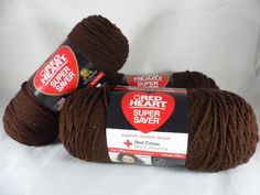Red Heart Super Saver 3 NEW Skeins 4-Ply Yarn Color Coffee 0365 Dark Brown Lot #RedHeart #HandDyed