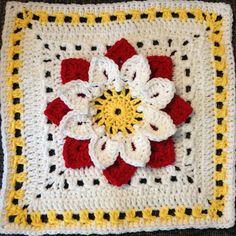Crochet - Crocodile Dahlia Square - Free pattern - Downloaded and printed ༺✿ƬⱤღ http://www.pinterest.com/teretegui/✿༻