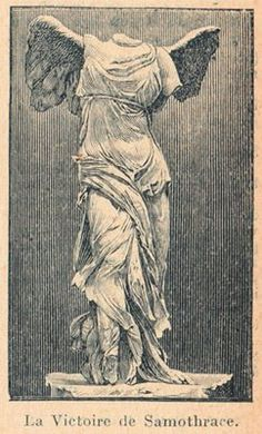 """This graphic features a winged statue known as """"The Winged Victory of Samothrace"""" that is displayed in the Louvre. This is a beautiful image that would work wonderfully in an altered art project. Realistic Drawings, Art Drawings, Victory Tattoo, Winged Victory Of Samothrace, Statue Tattoo, Greek Statues, Graphics Fairy, Greek Art, Fantasy Characters"""