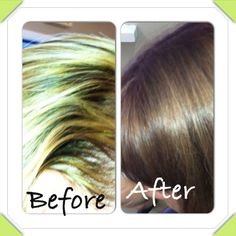 Client box colored and bleach own hair and came to me for correction