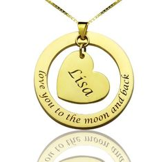 """Express your love with this classic circle and heart pendant Sterling Silver necklace. Thisbeautiful """"Love you to the moon and back"""" Disc Heart necklace with a name charm is a great gift idea for someone you love or any important person for a specialoccasion worth celebrating like Graduation and Anniversary. Get one for yourself too. At the center heart charm, you can personalize aname and you may evenput a favoritephraseon the circle disc to make it even more special.  Material…"""