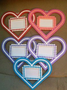 Hearts - Valentine's Day frames perler beads by FluffyRosey
