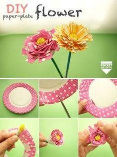 花 Dinner Recipes pasta recipes Tape Crafts, Fun Crafts, Diy And Crafts, Crafts For Kids, Handmade Flowers, Diy Flowers, Paper Flowers, Japanese Handicrafts, Paper Plate Crafts