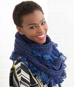 Vortex Ruffled Cowl Free Crochet Pattern in Red Heart Yarns