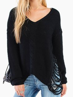 Amazing V-Neck Full Sleeve Pure Color Hollow Side Knitted   Loose Women Leisure Pullover Sweater on buytrends.com