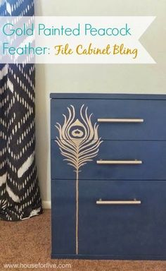 Delightful way to upcycle a rather ordinary chest of drawers with a Gold feather stencil and Gold handles finished in a rich Heritage Blue.