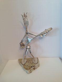 "Whimsical silverware art ""The Rocker"""