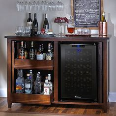 Firenze Mezzo Wine and Sprits Credenza with 28 Bottle Touchscreen Wine Refrigerator Wine Credenza, Wine And Coffee Bar, Coffee Bar Design, Wine Dispenser, Liquor Bar, Refrigerator Storage, Bar Cart Decor, Man Cave Home Bar, Wine Cabinets