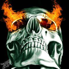 onfire V by Juliansyahjude Crane, Worms Eye View, Body Bones, Flame Art, Air Brush Painting, Skull Design, Grim Reaper, Skull And Bones, Horror Art