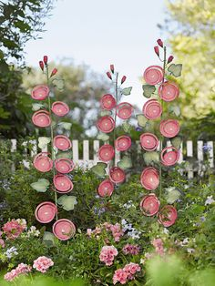 "Garden Art: Hollyhock Stem Stake - life-sized stem of blossoms in hand-painted powder-coated steel - 8.5"" W x 58"" H overall Approx. 48"" H installed - Gardener's Supply"