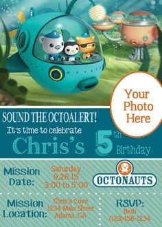 Octonauts Birthday Invitation Party ideas Pinterest Birthdays