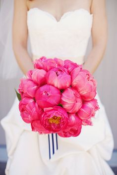 Gorgeous pink peony bouquet: http://www.stylemepretty.com/2012/08/10/bodega-bay-wedding-by-gem-photo/ | Photography: Gem Photo - http://emthegem.com/