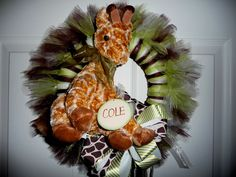 New Baby Wreath for Hospital Door and Nursery Door at Home - Jungle Theme - Small. $65.00, via Etsy.