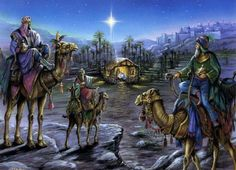 I was born in Spain and my mother is Spanish so for me Christmas is all about The Nativity - The Magi (Three Kings) and the Epiphany. Christmas Nativity Scene, Christmas Scenes, A Christmas Story, Christmas Pictures, Christmas Art, Nativity Scenes, Christmas Landscape, Christmas Graphics, Christmas Ornament