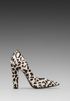 "Love these shoes!  Stacked heel, 4"", perfect.  NICHOLAS Darcy Pump in Black/White Leopard"