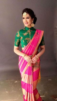 Exclusive Saree Blouse Designs For Every South Indian - So Break The Norms And Notions With These Unique South Indian Blouse Designs To Pair With Your Kanjeevaram Saree And Go Evermore Stunning On Your South Indian Wedding Bedecked Your Blouse Design Wi # Blouse Back Neck Designs, Fancy Blouse Designs, Blouse Designs Wedding, Traditional Blouse Designs, Pattu Saree Blouse Designs, Silk Saree Blouse Designs, Saree Blouse Patterns, South Indian Blouse Designs, Sari Bluse