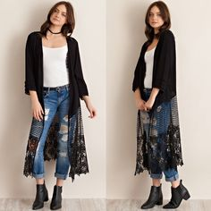 """Lyric"" Crochet Lace Bottom Kimono Duster Black kimono duster with a crochet/lace bottom. Only available in black. Brand new. True to size. NO TRADES. PRICE FIRM. Bare Anthology Jackets & Coats"