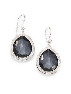 IPPOLITA Diamond, Hematite Doublet & Sterling Silver Earrings<31495.<3<3