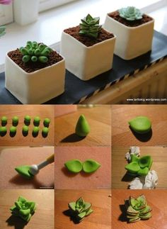 Succulent tutorial really great idea for mini cakes for all your cake decorating supplies please visit craftcompany co uk Polymer Clay Projects, Polymer Clay Creations, Diy Clay, Polymer Clay Miniatures, Cake Decorating Supplies, Cake Decorating Tutorials, Decorating Ideas, Fondant Flowers, Sugar Flowers