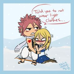 kilala-the-thunder-dragon-slayer:  When Lucy never listens to Natsu's warnings about wearing a skirt in the tundra. Not that he minds or anything… NaLu week Day 3: Cuddle