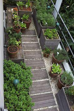 A horta organizada com vasos de barro e madeira cumaru fica na varanda de um apartamento. Projeto da arquiteta Mônica Lauretti