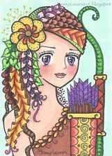 ACEO Original zentangle anime girl horoscope zodiac Sagittarius by Jenny Luan
