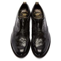 Officine Creative Black Slip-On Wingtip Brogues Tap Shoes, Men's Shoes, Dress Shoes, Dance Shoes, Mens Fashion Shoes, Men's Fashion, Officine Creative, Brogues, Black Shoes