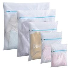 Polecasa Mesh Laundry Wash Bags for Lingerie and Delicates - 5 Pack- Lead Free Fine Net Fabric with Strengthened Zipper for Bras, Socks, Bath Towels, Bed Sheet, Bedcover, Toys, Travel Organizing | #WashBags | #NetFabricBags | #Polecasa | Travel Organization, Organizing, Mesh Laundry Bags, Beautiful Handbags, Wash Bags, Lead Free, Bed Sheets, Bath Towels, Home Kitchens