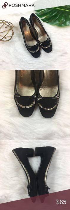 Ferragamo Block Heels Salvador Ferragamo Black & Sliver Low Block Heels. Size 6 1/2' medium width. Good used condition. Most wear shown on bottoms. The outside is a very short velvet like material. Has one or two very light scuffs, not noticeable at all. No box or dust bag included. Salvatore Ferragamo Shoes Heels