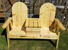 Wooden bench with cooler. No stain just polyurethane.