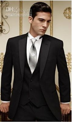 black suit, black shirt, silver vest and bow tie - Google Search