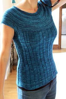 """Pull Me Over by Andrea Black in a Worsted 10ply top-down and in the round and one piece. 32 (34, 36, 38, 40, 42, 44, 46)"""" .......... long sleeve option too!"""