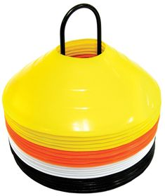 """SKLZ Agility Cone Set - 20 Cones in 4 Colors. Ideal for agility training drills. Quickly mark your entire workout area. Cones are 2"""" tall and will not break when stepped on. Includes 20 cones, carrying rack and cone drill DVD. 5 ea. Yellow, Black, White and Orange."""