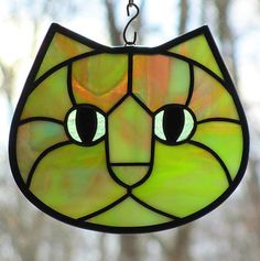 Stained Glass Cat Face Suncatcher Funky Green by LivingGlassArt