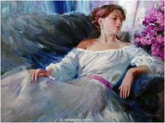 Vladimir Volegov While working with new #paintings, will put one more from earlier.. Tenderness in blue and violet colours #volegov #art #oil #canvas